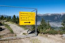 Patscherkofel, Umleitung wegen Bauarbeiten am Zirbenweg