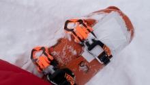Skischuh mit Klebeband