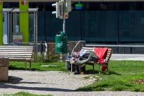 Obdachloser in Innsbruck, Tirol, Austria