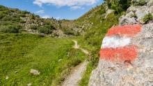 Wegmarkierung rot weiss rot / Patscherkofel, Tirol, Austria