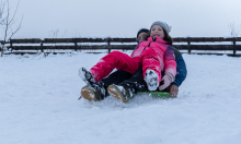 Kinder rodeln mit ihren Schneetellern