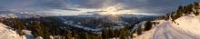 Sonnenuntergang über dem Stubaital, Tirol, Austria