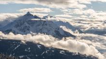 Nebeldecke über dem Stubaital, Tirol, Austria