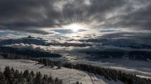Nebeldecke über dem Stubaital, Wipptal, Tirol, Austria