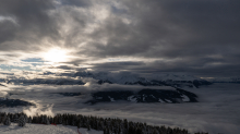 Nebeldecke über dem Inntal, Wipptal, Stubaital, Tirol, Austria