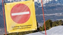 Hinweisschild: Aufstieg Tourengeher