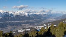 Blick vom Glungezer in das Inntal und zur Nordkette, Tirol, Austria