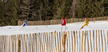 Skirennläufer beim Filmdreh für den Kinofilm: Klammer / Patscherkofel, Tirol, Austria