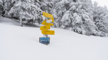 zugeschneites Wanderwegschild am Berg / Patscherkofel, Tirol, Austria